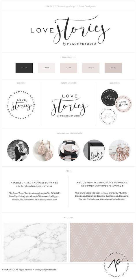 Custom Logo Design & Branding Package Inc. Submark by PeachyStudio - Love Stories brand board features a romantic, neutral palette.