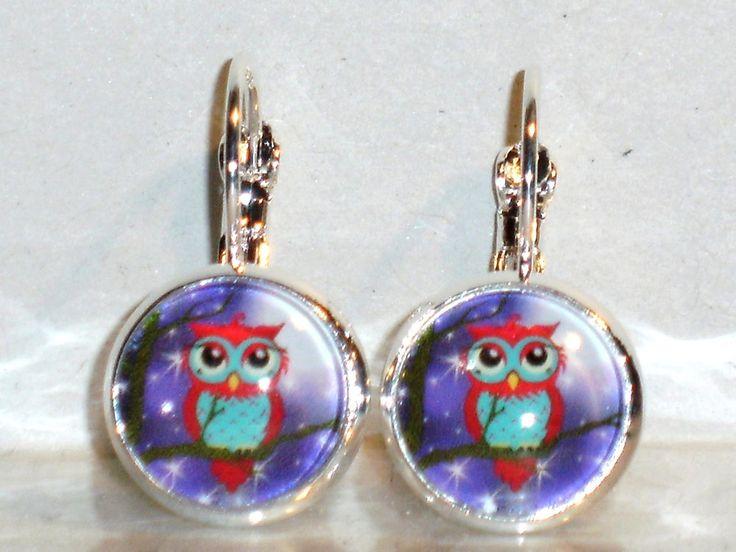 Ohrringe Eule Tiere Vogel Damen Hänger Leverback Ohrschmuck Modeschmuck Cabochon