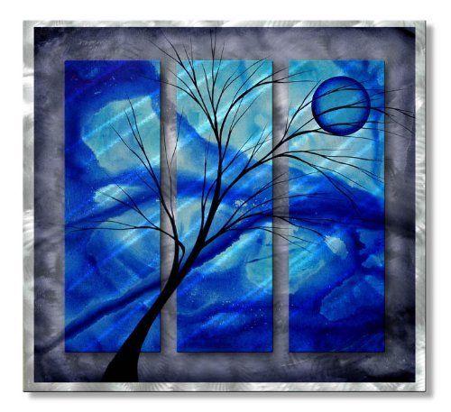 Deep blue huge modern wall decor by megan duncanson for Blue wall art