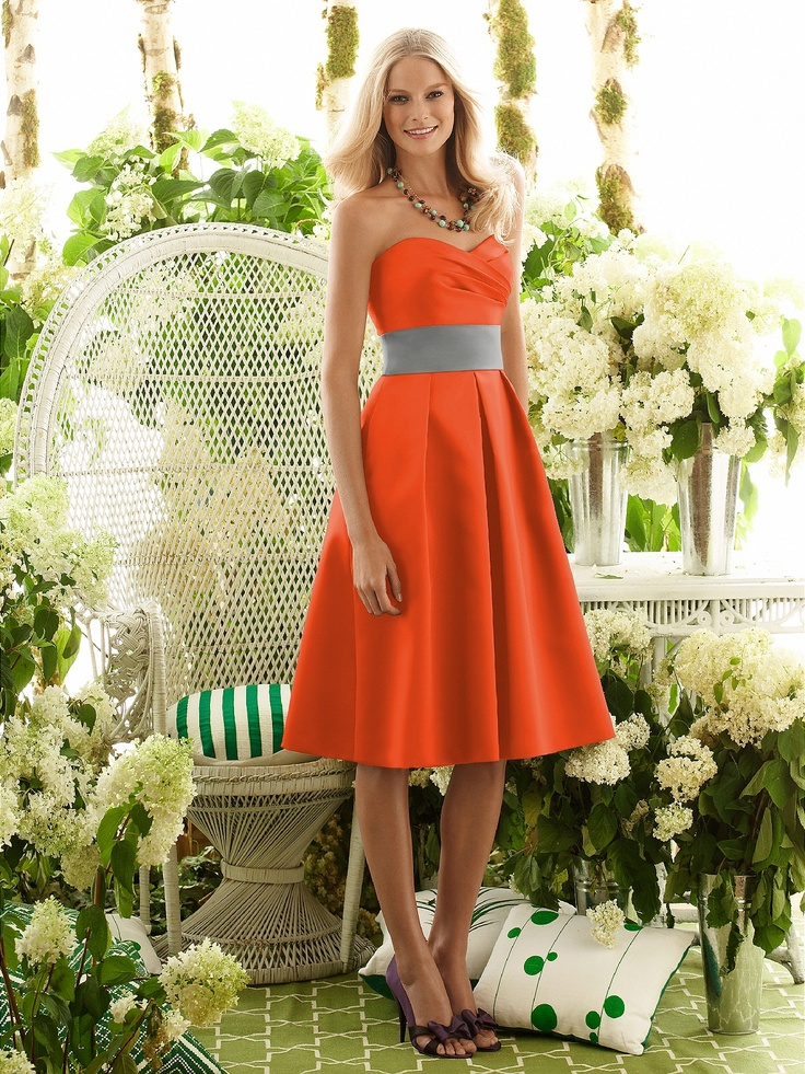 Orange Bridesmaids Dresses with Gray Sash     This is what I want... but a lighter orange..