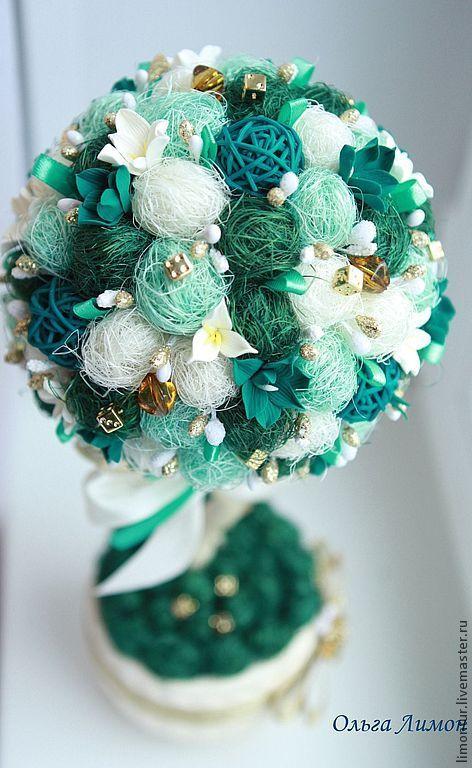 """Топиарий """"Нефритовый цветок"""" - морская волна,полимерная глина,нефритовый"""