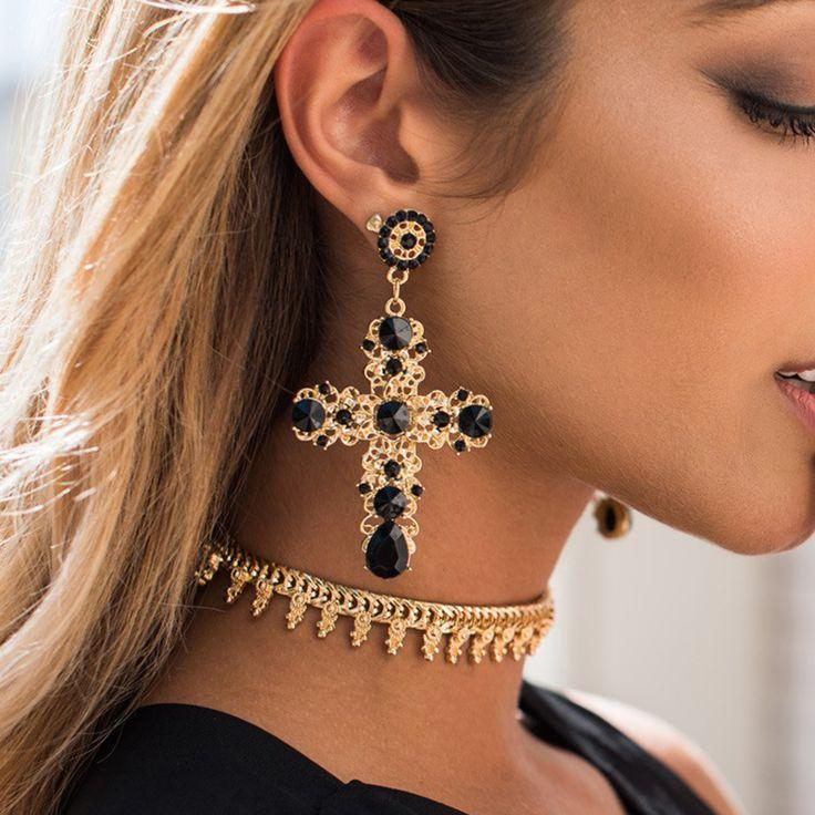 New Arrival Vintage Black Crystal Cross Drop Earrings for Women Baroque Bohemian Large Long Earrings Jewelry Brinco 2016