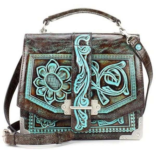 Patricia Nash  Tooled Stella Flap Shoulder Bag ($249) ❤ liked on Polyvore featuring bags, handbags, shoulder bags, turquoise, turquoise purse, flap purse, flap handbags, shoulder handbags and patricia nash purses