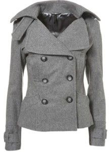 double breasted grey pea coat
