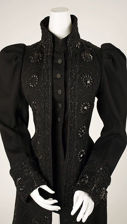 Black Jacket with black beading, wool, American, 1890's