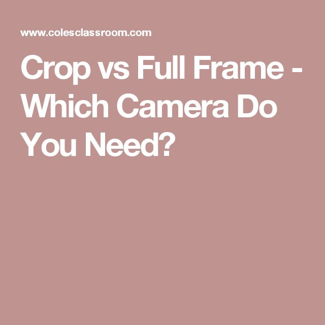 Crop vs Full Frame - Which Camera Do You Need?