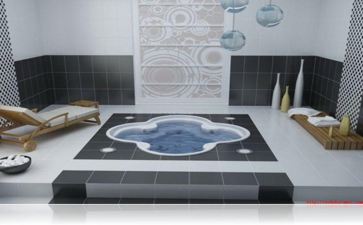 Siyah beyaz krem banyo fayans