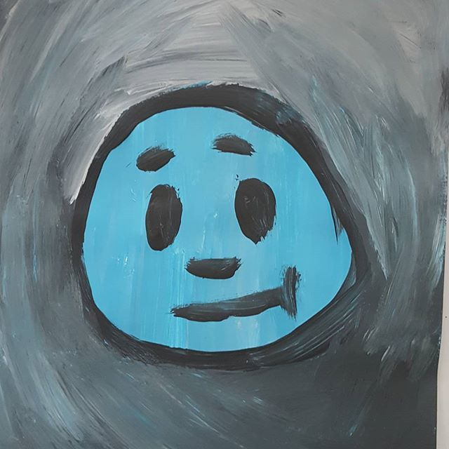 #smiley #blue #painting #acryl #face