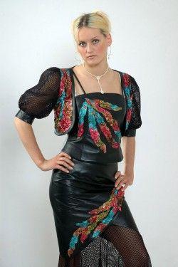 Кожаное платье и болеро с цветной аппликацией