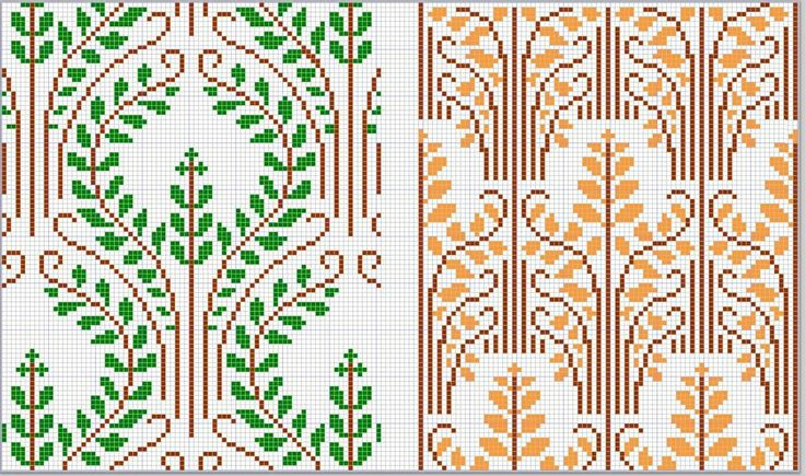 D.M.C. Point de Croix Nouveaux Dessins 3me Serie, Page 11. Art nouveau and Provençale charted cross-stitch designs. Overall patterns in green, brown and gold, maybe laurels and wheat