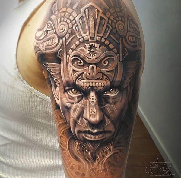 Aztec Warrior tattoo by Arlo Tattoos Half Sleeve Tattoos For Guys, Tribal Tattoos For Men, Half Sleeve Tattoos Designs, Best Sleeve Tattoos, Body Art Tattoos, Henna Tattoos, Tattoos Pics, Aztec Tattoos Sleeve, Tatoos
