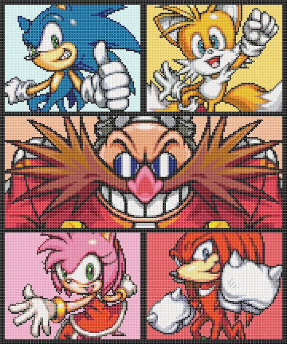 Sonic and Friends Cross Stitch Pattern by ServoStitches on Etsy