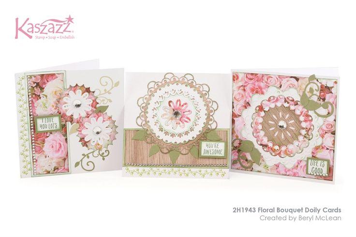 2H1943 Floral Bouquet Doily Cards