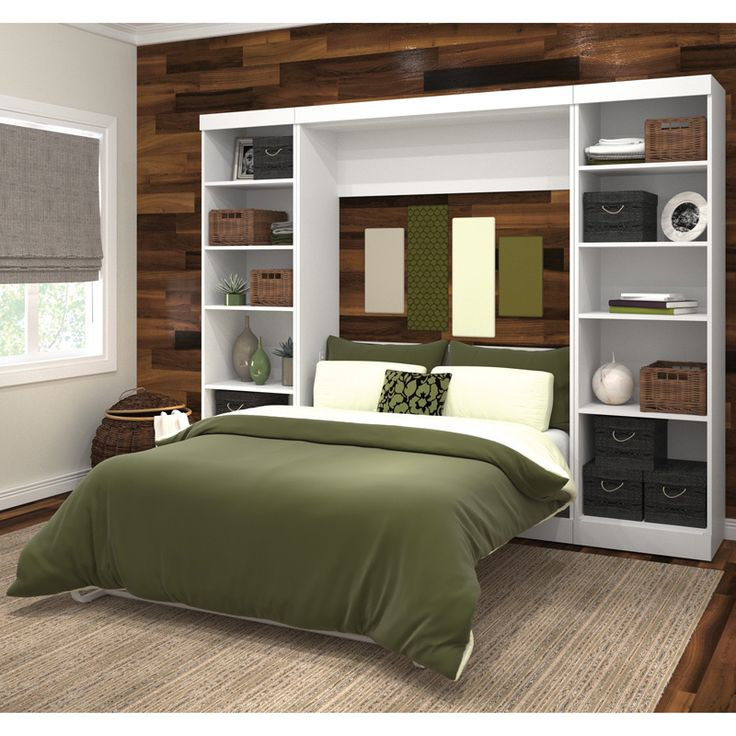 Optimizing the space you have, this full bed folds into a storage case leaving your room spacious and sophisticated. Utilizing two fixed and three adjustable shelves in each case, your possessions will be safe and well displayed.