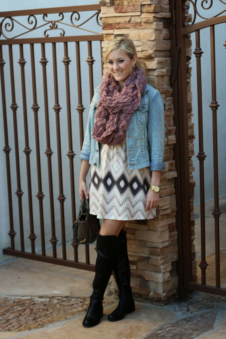 Blogger Chelsea @Chelsea Rose From She Said He Said - Fashion Blog showing off her #coldweatherhottie look in a Charlotte Russe sweater dress and scarf, paired with a denim jacket. See more of her outfit on her blog - She Said He Said: Printed Winter Dress