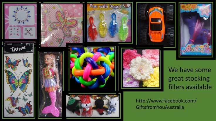 Looking for stocking fillers, we have a range of stocking fillers in stock.  Check out http://www.facebook.com/GiftsfromYouAustralia