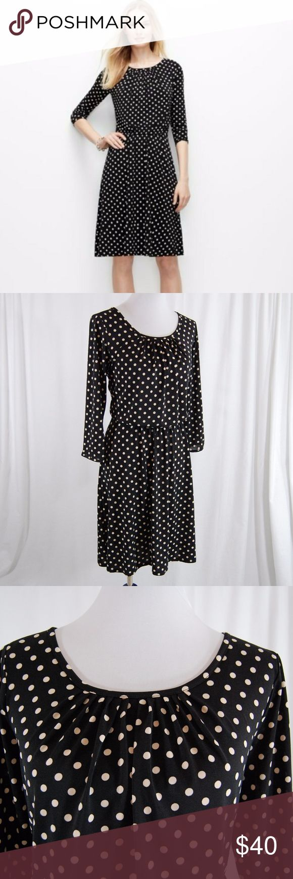"Ann Taylor Stretchy Polka Dot Dress Unlined. Elastic waist. 3/4 sleeves. Pleated scoop neckline. Soft, comfortable, bouncy and a great dress overall.  Very good condition with minimal wear. Great for work or play!  Approximate measurements (taken flat): --Bust = 20.5"" --Waist = 16-24"" (elastic) --Length = 39"" --Sleeve = 18.5"" Ann Taylor Dresses"