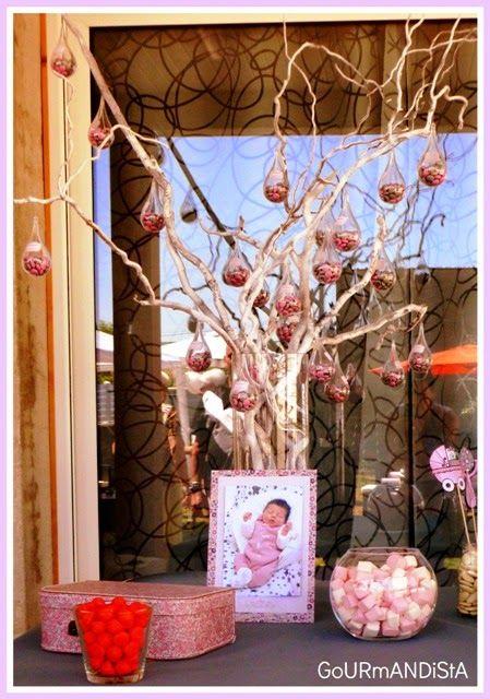 Arbre à bonbons-dragées baptême liberties birthday girl pink GoURmANDiStA