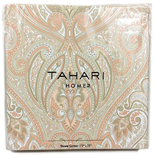 Tahari Home Fabric Shower Curtain Roseman Paisley Scroll