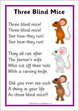 Three Blind Mice song sheet (SB10679) - SparkleBox