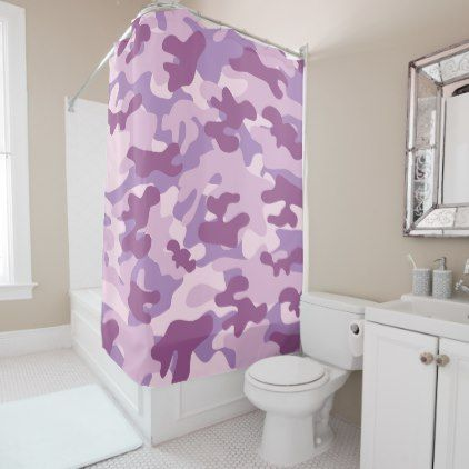 Purple Lilac Color Camouflage Pattern Shower Curtain - pattern sample design template diy cyo customize