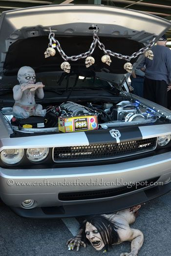 creepy car decorated for trunk or treat
