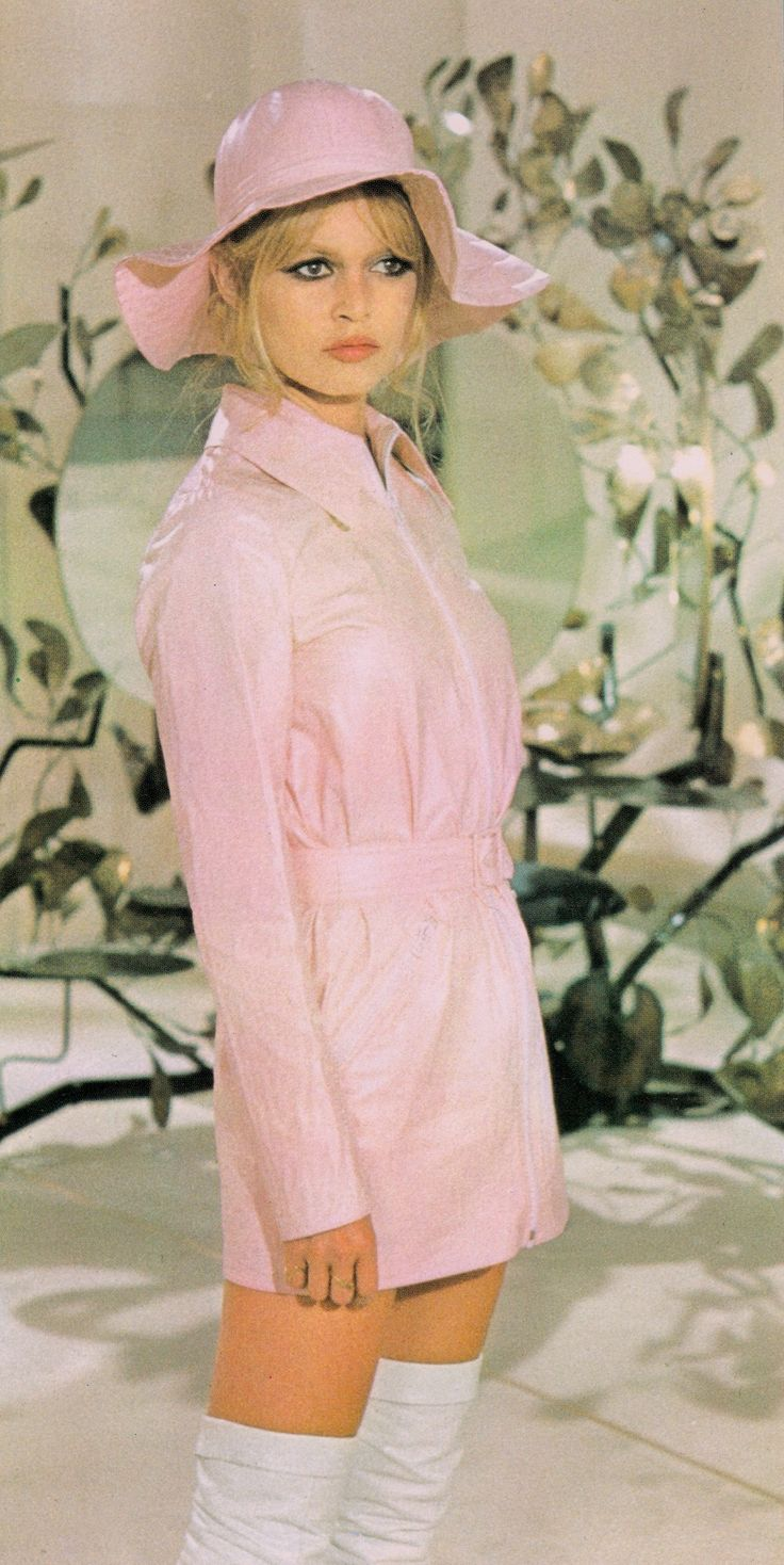 Lovely Brigitte Bardot in pale pink 60's mod raincoat & white boots. Japanese picturebook, from my own collection (minkshmink)