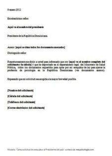 Modelo carta solicitud de exequatur (Presidente del pais)