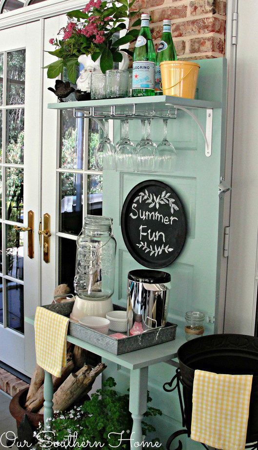Upcycled Beverage Station |  But Christy had even grander plans for the door — it now serves up drinks and rustic charm.  |  Learn more at Our Southern Home.