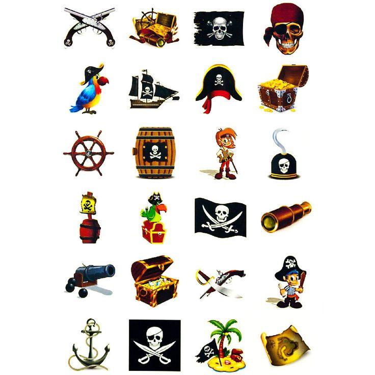 Temporäre Klebetattoos Kinder Tattoo Set - Piraten Motive in Feierlichkeiten / Anlässe   • Karneval Fasching Party • temporäre Tattoos