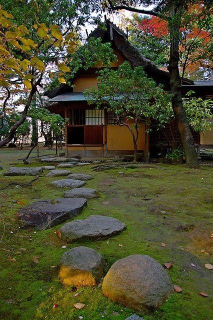 Japanese Tea House in Nagoya castle park Aichi, Japan