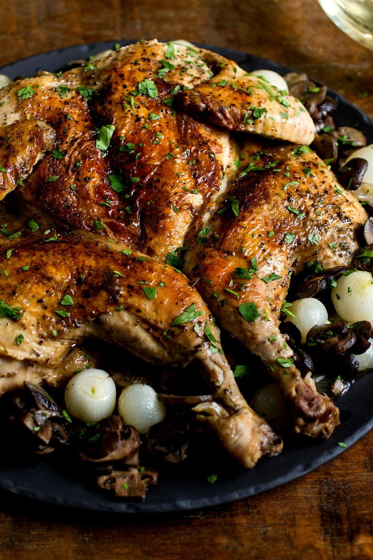 NYT Cooking: A classic of his Mississippi childhood, Craig Claiborne's smothered chicken made its debut in The Times in 1983, accompanied by mushrooms and small onions that give it a slightly more metropolitan flavor. (You could always omit these if you have neither on hand.) The basic idea is to split a chicken down the back and cook it whole in a skillet over butter, with a w...