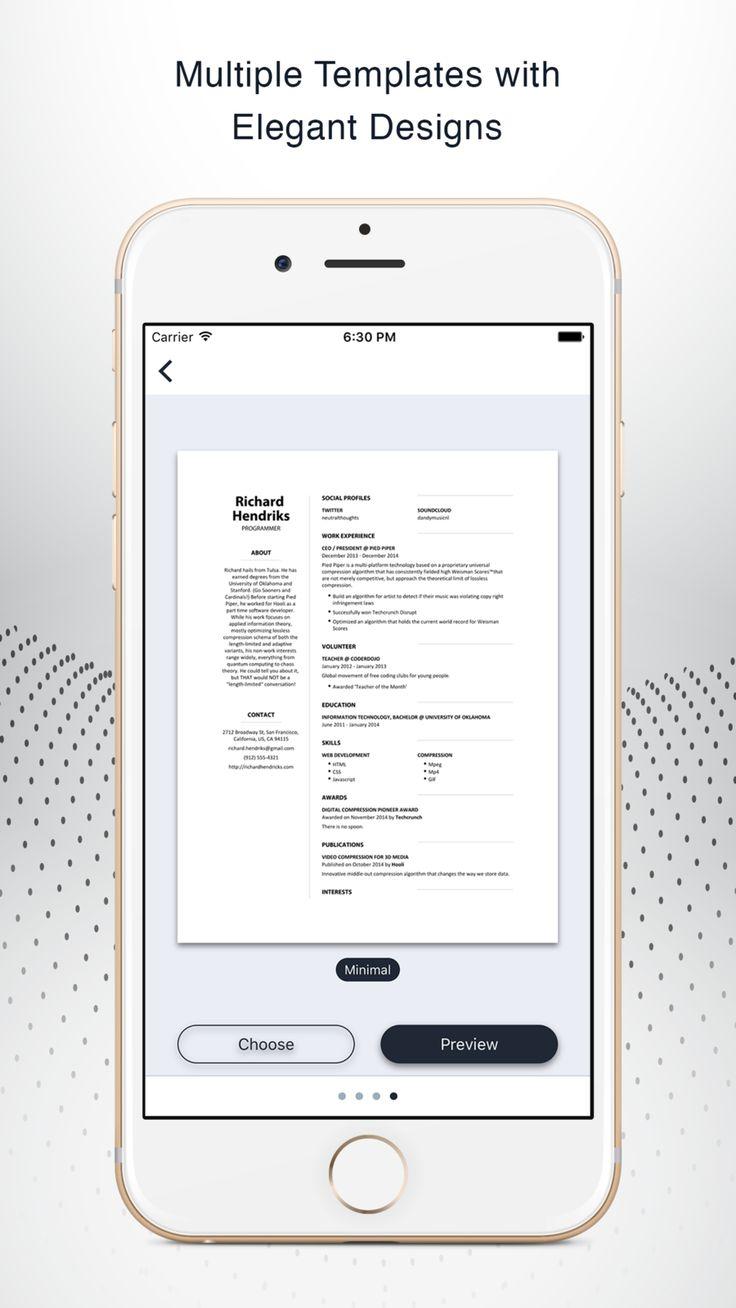 Instant Resume CV Resume builder, App template, Resume