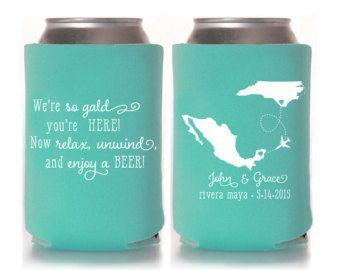 Custom Destination Wedding Koozies ~ Wedding Koozie ~ Mexico ~ Any Country or State