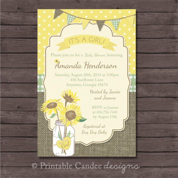 Rustic Sunflower Baby Shower Invitation  DIY by printablecandee, $10.00