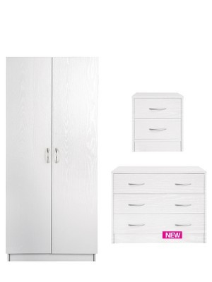 Barcelona Wardrobe, 3-drawer Chest and Bedside Cabinet - White (buy and SAVE!) £119