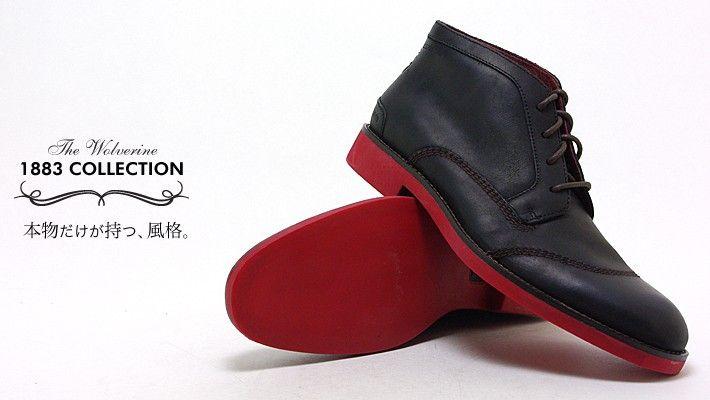 ◆カラー/ブラック<br>◆素材/天然皮革<br>◆サイズ/細身:0.0cm/幅広:〜+0.5cm<hr>1883年創業の歴史あるウルバリン社より「WOLVERINCE 1883」コレクションの「レッドソール チャッカ」が登場です。なんといっても印象的なのは「赤いソール」。アッパーには上質なフルグレインレザーを採用し、内張りにも柔らかなピッグスキンレザーを採用しています。また、フットベッドはクッションフォーム材の上にレザーを被せた「フルレザーオーバーフォーム」を採用し驚くほど滑らかな足当たりです。
