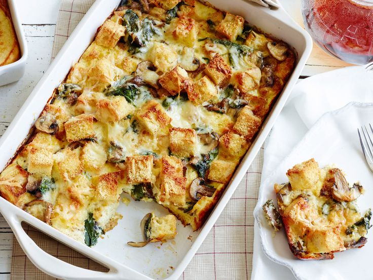 Spinach, Mushroom and Cheese Casserole : This hearty meatless breakfast casserole is a great way to use up stale bread. The cubes on top bake into a delicious crunchy crust that just might be the best part! The whole thing can be assembled the night before and popped into the oven in the morning.