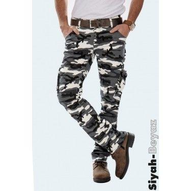 DEEPM1601193-027 Erkek Kamuflaj Pantolon Likralı Dar Kesim Atlantic - Siyah-Beyaz - 64.81 TL + KDV