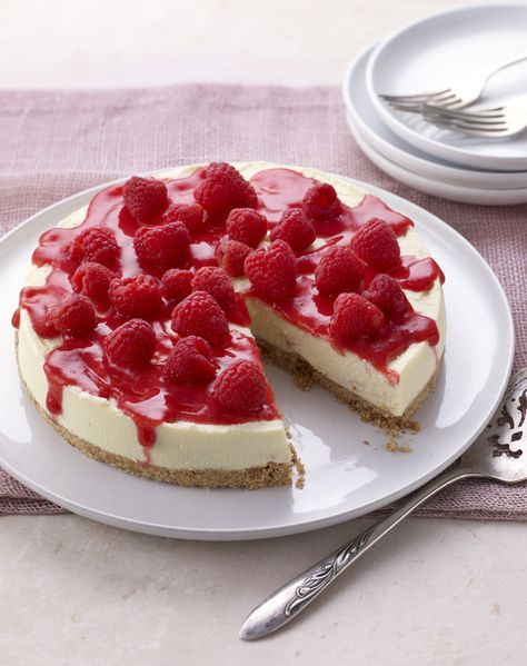 Mary Berry's raspberry cheesecake is a stunner - with hidden bursts of coulis inside.