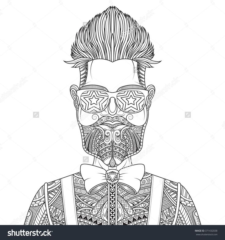 man with beard and tattoo vector illustration