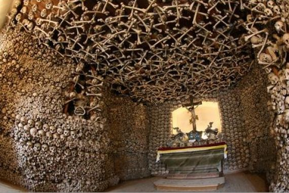Kaplica Czaszek- Chapel of Skulls.  Yes, this is a real place. Somehow it's not that creepy in real life.