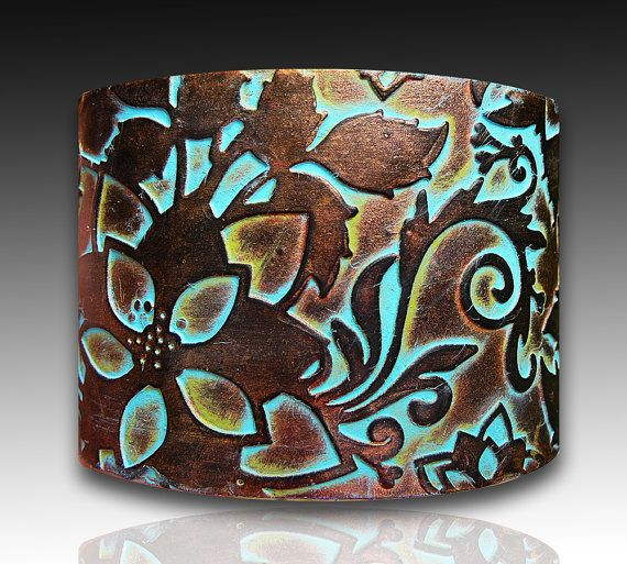 Handmade polymer clay cuff bracelet by adrianaallenllc. Handcrafted cuff crafted from polymer clay and made to imitate an alloy of rusted copper and bronze with a layer of patina