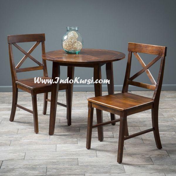JualKursi Makan Silang Meja Bundarsalah satu produk Kursi Makan dengan kontruksi yang kuat menggunakan bahan Kayu jati, desain Kursi Silang dan Meja Makan