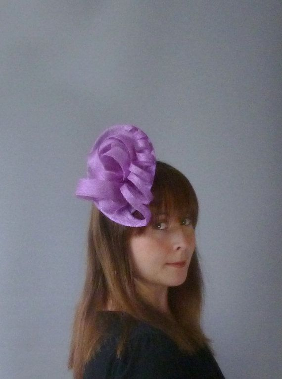 Purple Fascinator Cocktail Hat. Sinamay Straw by SophieShields, £35.00