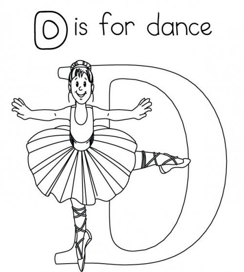 letter d is for dance coloring page
