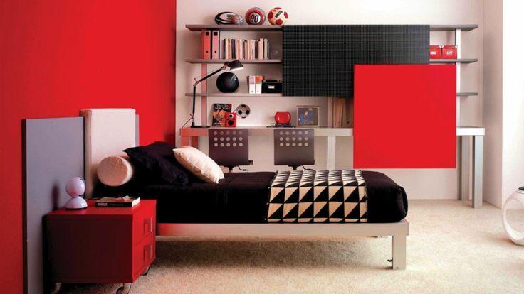 Jugendzimmer komplett in Schwarz-Rot