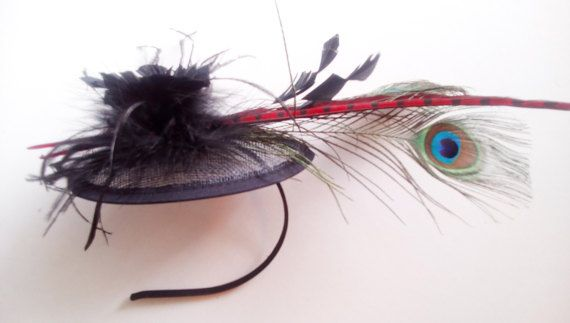 Black chic fascinator special occasions sinamay by mademeathens
