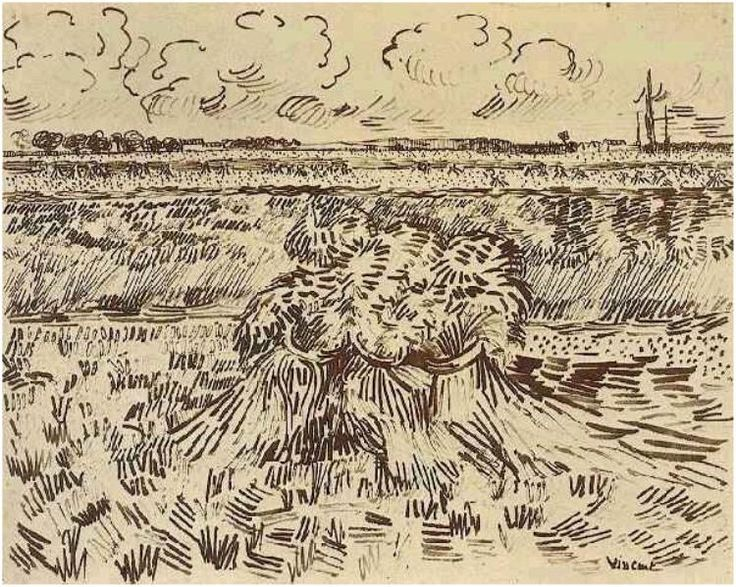 Wheat Field with Sheaves by Vincent Van Gogh  Drawing, Pen  Arles: 17-Jul, 1888 http://www.vangoghgallery.com/catalog/Drawing/1720/Wheat-Field-with-Sheaves.html