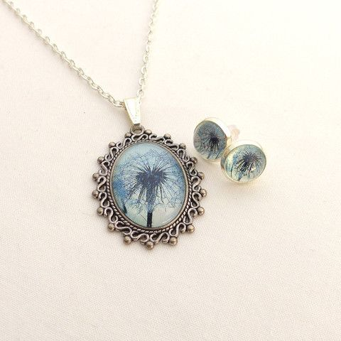 Dandelion necklace and earrings set
